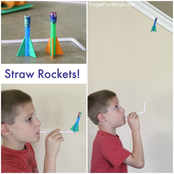 Make straw rockets! This simple rocket activity kept my crew busy for a long time, and it's so simple to do! Blow into the straw and launch your rocket. Then do it again and again! We put these rockets together in about 10 min. The longest part was waiting for the glue gun to heat …