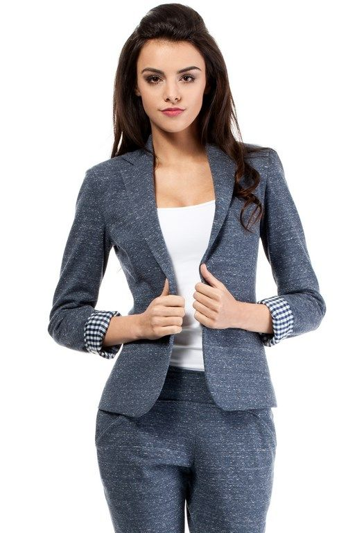 Navy blue Women's jacket fastened with a button