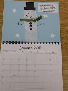 Kid-made calendars; hand-print art for every month. Perfect as a holiday gift: from student to parent. My little guy did one in 1st grade, wrapped it up and gave it to us on Christmas. Super cute!