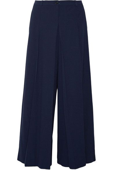 Michael Kors Collection - Pleated Wool Wide-leg Pants - Navy - US12