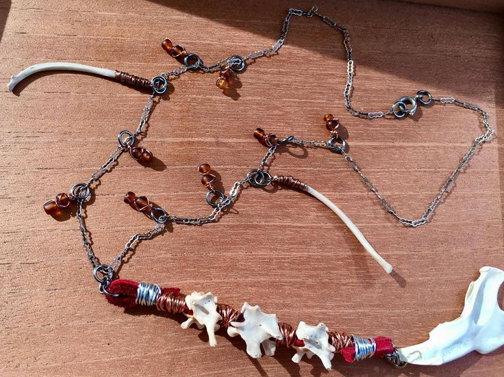 Excited to share the latest addition to my #etsy shop: Spine, Jawbone, Rib Bone Necklace, Bone Necklace, Bone Jewelry, Leather, Glass Beads, Antique Chain, Boho, Gothic Jewelry, Shabby #jewelry #necklace #red #glass #bone #foundbone #leather #glassbeads