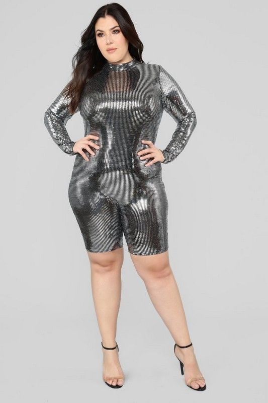 aa1afb28789 Plus Size Babe Magnet Metallic Romper - Silver  34.99