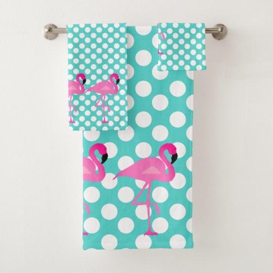 Flamingo And Polka Dot Bath Towel Set