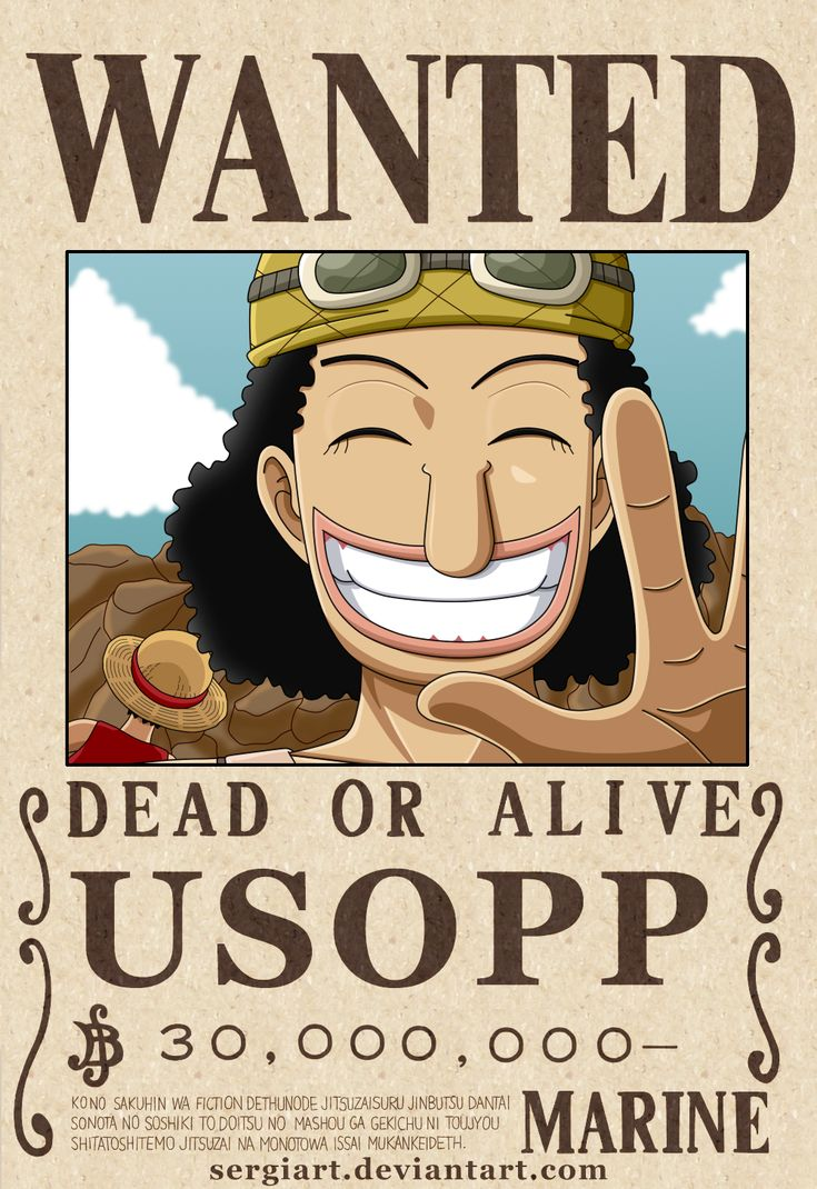 One piece usopp wanted poster by on deviantart one piece i love - One piece wanted luffy ...