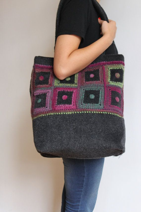 Big handmade handbag - dark grey/purple/ dark pink/green - pastel colors VERY light for its size! Crochet details on the front ; on the back side -