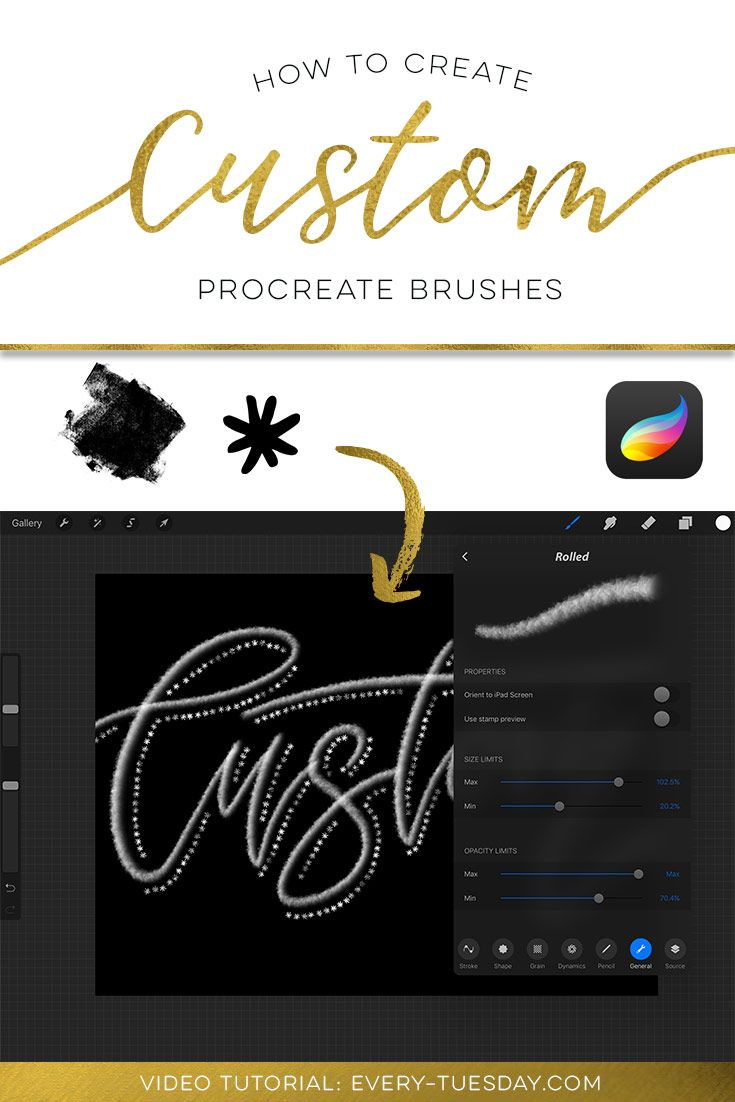 Great tutorial on creating custom Procreate brushes on the iPad Pro! https://every-tuesday.com/create-custom-procreate-brushes