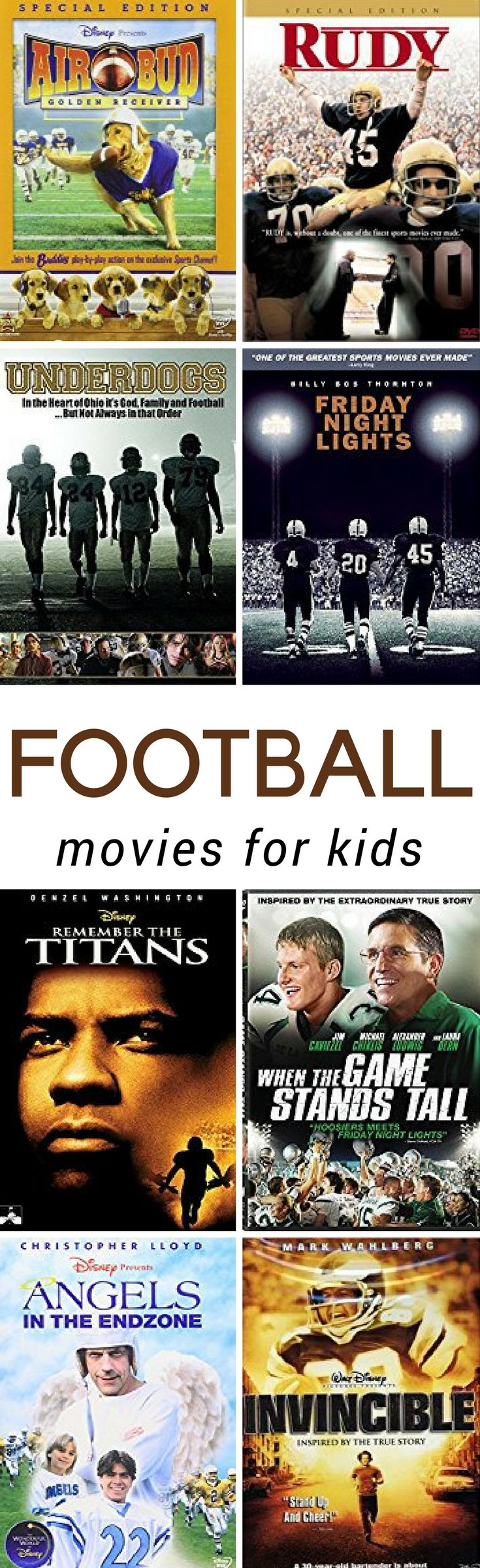 These kids football movies are wholesome family friendly movies and some are even based on a true story! #movies #boyslove #football