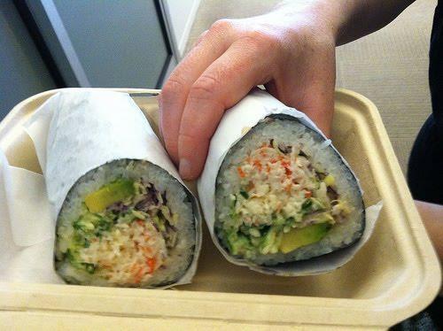 Sushi burrito?!Food, Sushiburrito Sex, Eating, Delicious Recipe, Yummy, Sushi Burritos, Sushi Rolls, Burritos Form, Drinks