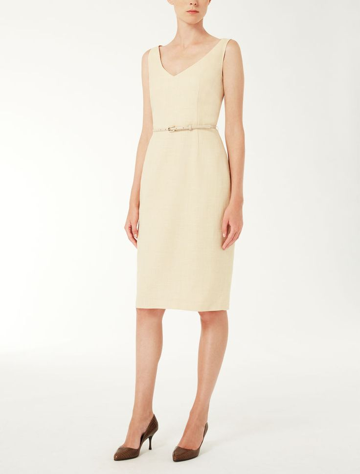 Max Mara GAVINO light yellow: Silk, linen and wool princess dress.
