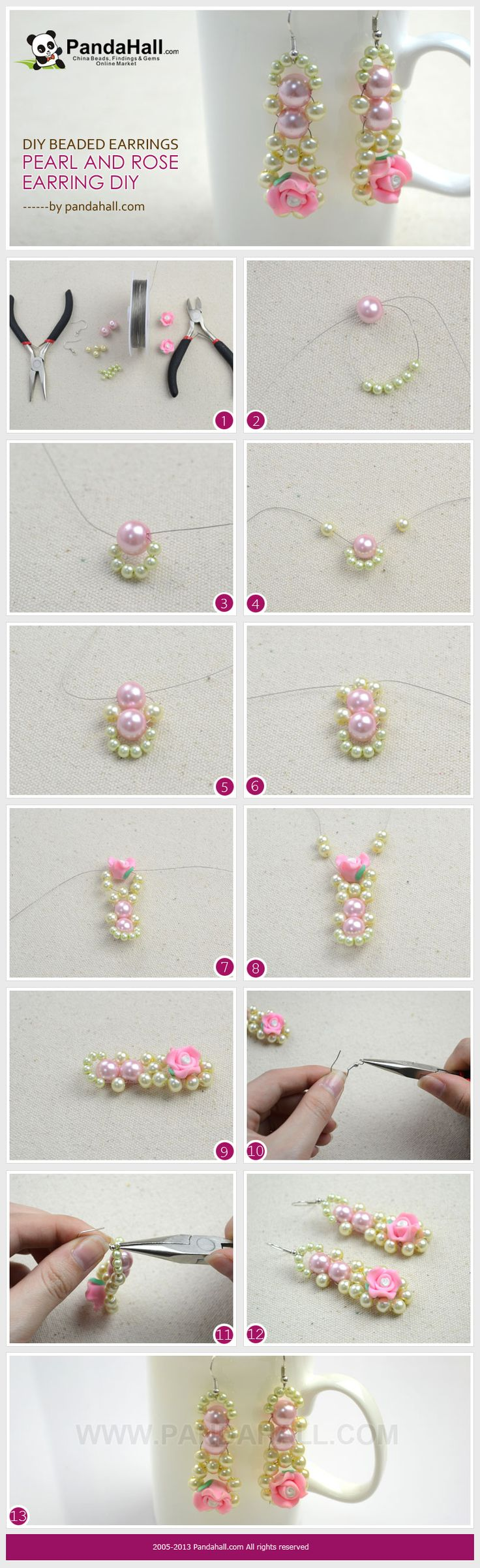These DIY beaded earrings will demonstrate you an easy way regarding pearl and rose combined earring DIY. Within five minutes, you will create this beautiful pair.
