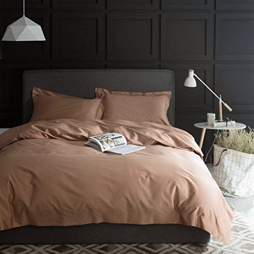 Solid Color Egyptian Cotton Duvet Cover Luxury Bedding Set High Thread Count Long Staple Sateen Weave Silky Soft Breathable Pima Quality Bed Linen (Queen, Biscotti Beige).