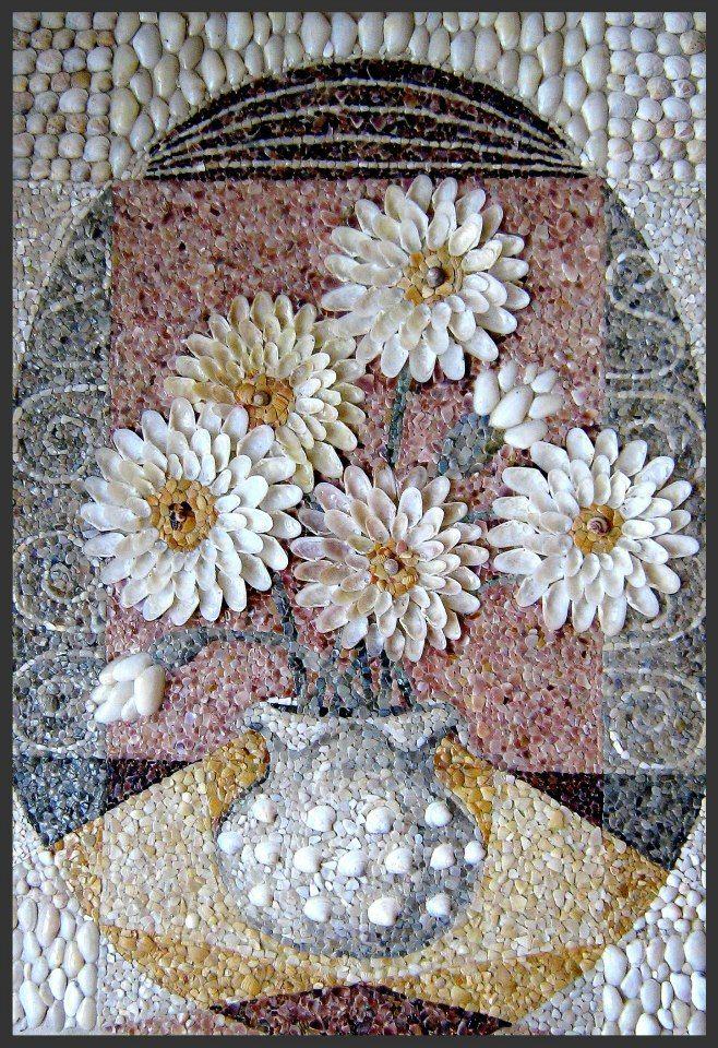 211 best mosaic pebbles or shells images on pinterest for Seashell mosaic art