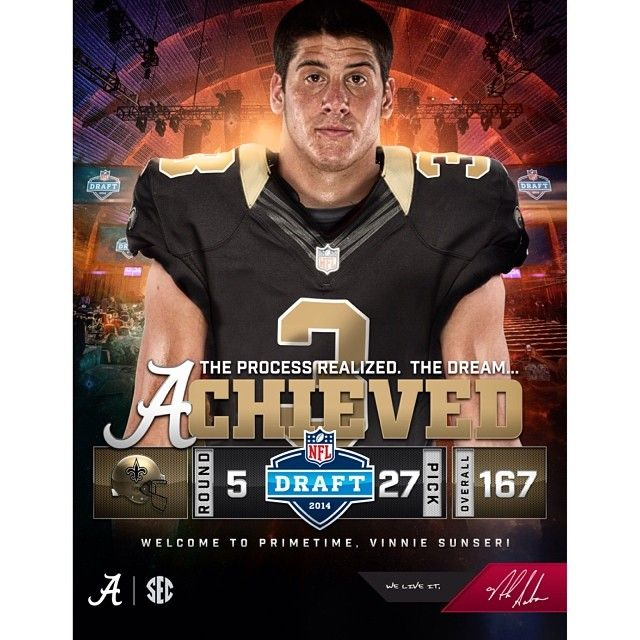 alabama_football_recruiting's photo: Vinnie Sunseri...Dream Achieved! #rolltide #builtbybama #nfldraft2014