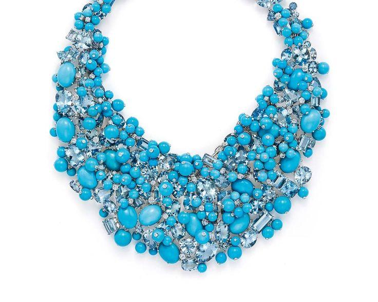 El collar de aguamarina, diamante y turquesa llevado por Cate Blanchett a los Oscar este año, de la colección de libros azules Tiffany & Co. de 2015.