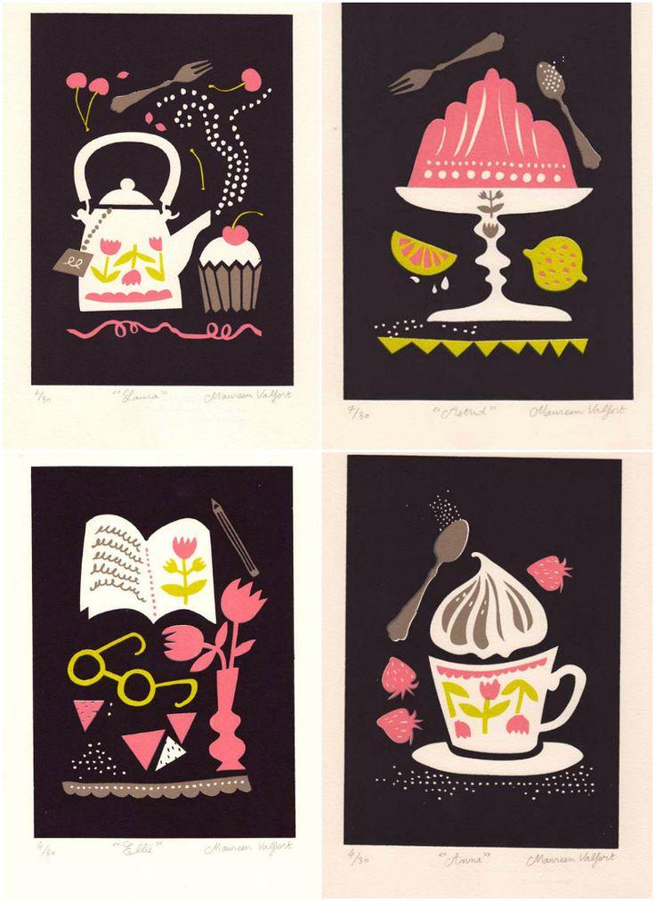 Tea prints by Maureen Valfort via WeeBirdy.com