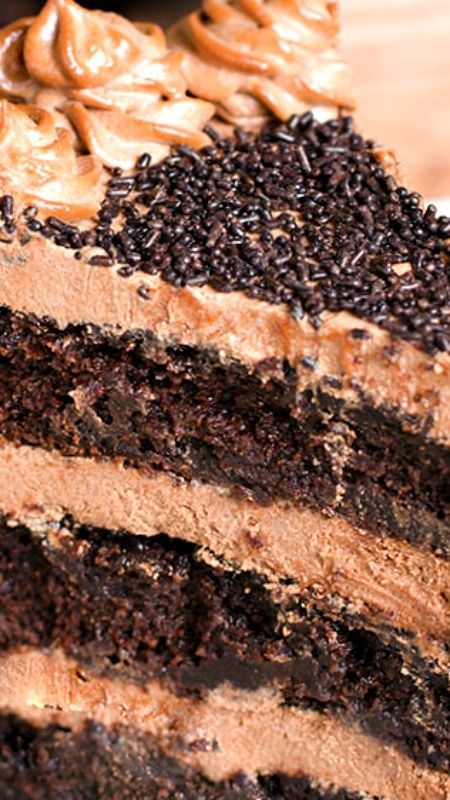 Decadent Nutella Chocolate Cake ~ Moist, rich and super chocolaty cake frosted with rich and buttery Nutella frosting