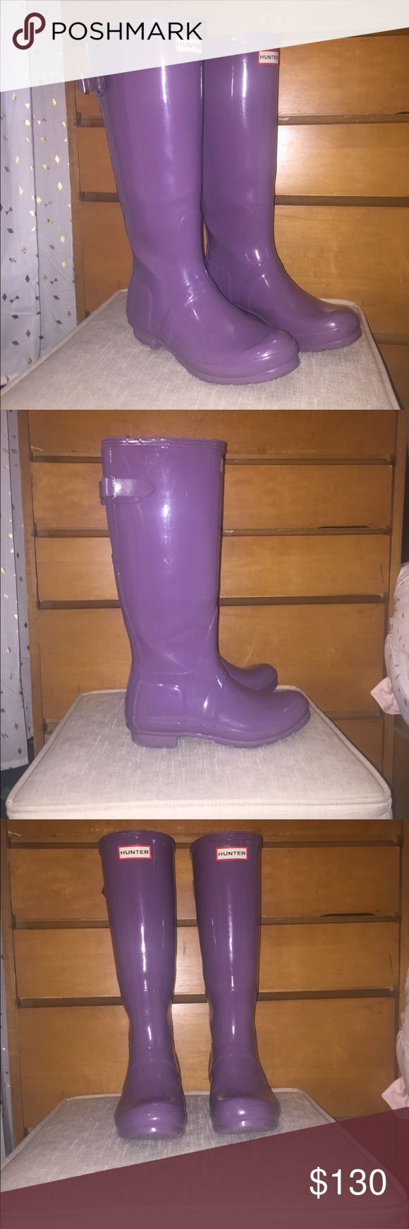 Purple hunter boots with adjustable strap Only worn a few times! But they were too small I need some 8! Hunter Shoes Winter & Rain Boots