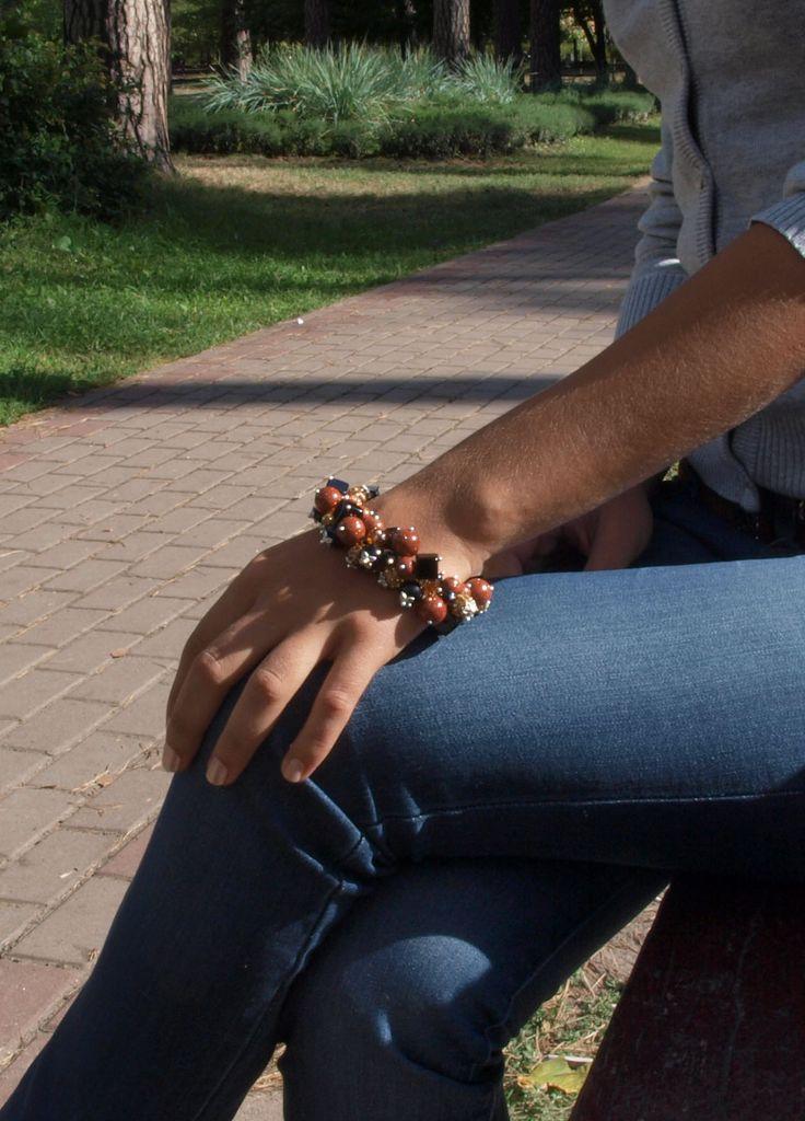 """Шикарный браслет ручной работы из коричневого авантюрина и черного агата """"Горький шоколад"""". http://stefi.com.ua/"""