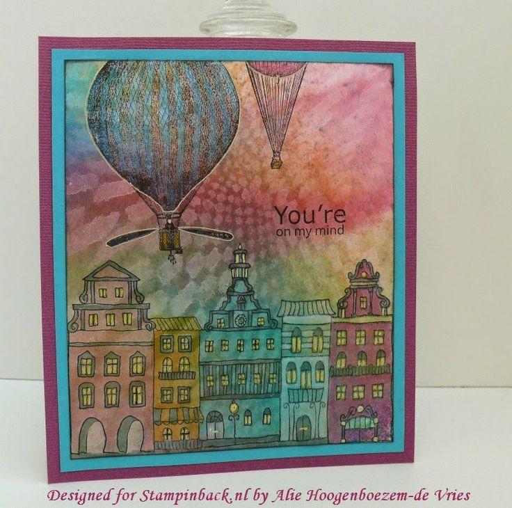 Stamped card with the new June 2014 stamps from Stampinback.nl (kit 147), designed for Stampinback.nl by Alie Hoogenboezem-de Vries