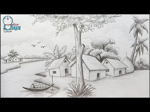 How to draw Scenery / Landscape by pencil sketch step by step - YouTube