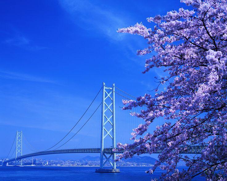 Akashi Kaikyō Bridge (Pearl Bridge), Kōbe - Awaji, Japan.