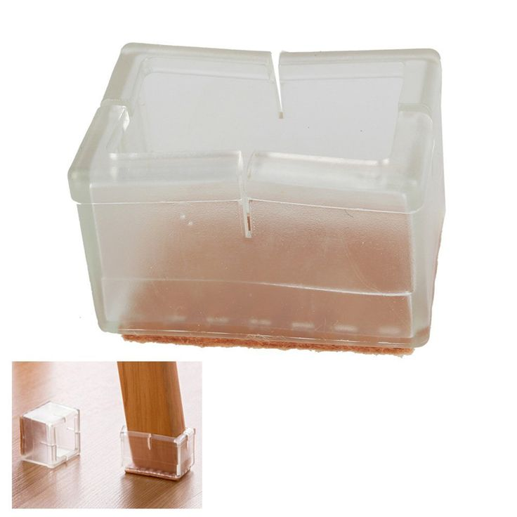Great 8pcs Rectangular Transparent Chair Leg Caps Feet Pads Furniture Table  Covers Wood Floor Protectors Rubber Feet