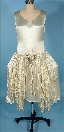 c. 1920's Wedding Dress of Silk Satin and Lace with Panniers!  Platinum Gray Color. Front