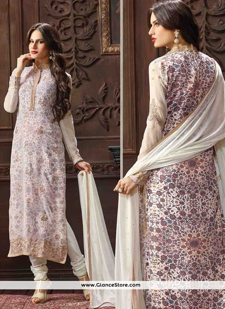 Design, style and trend would be at the peak of your attractiveness the moment you attire this purple georgette churidar designer suit. The gorgeous embroidered and print work a substantial characteristic of this dress. Comes with matching bottom and dupatta. (Slight variation in color, fabric & work is possible. Model images are only representative.)