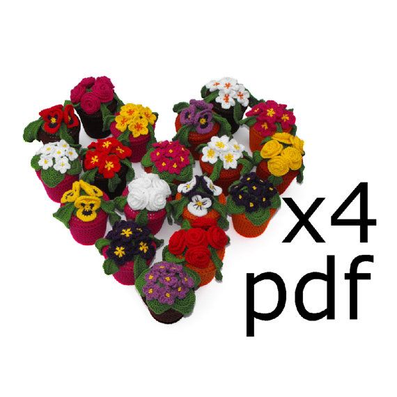 Crochet Pattern for ALL 4 different flowerpots by RoseCottageCraftsUK on Etsy, £6.50