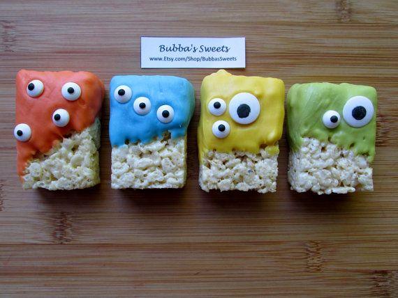 MONSTER Rice Krispys (12) - MONSTER Birthday/Monster Bash/Monster Party Favors