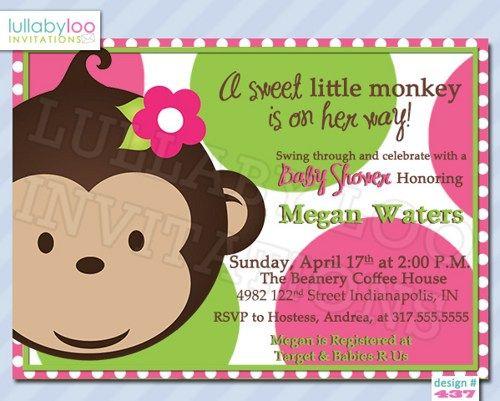 Mod Monkey Baby Shower Invitations Girl (437) | lullabyloo  #babyshower #partyinvitations #girl monkey