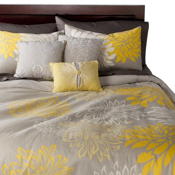 Anya 6 Piece Floral Print Duvet Cover Set Gray Yellow