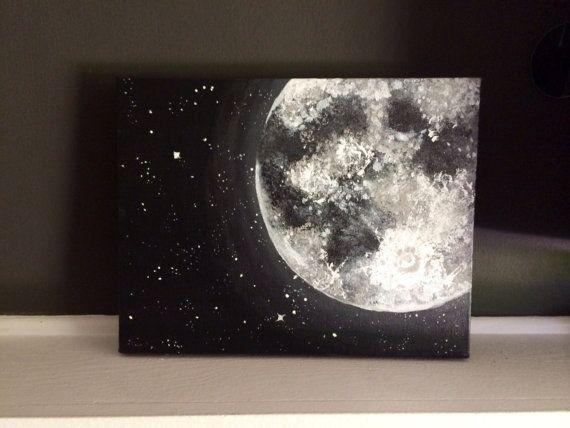 Ich liebe dich bis zum Mond und zurück • kosmische Malerei des Mondes und der Sterne. Ideal für diejenigen, die lieben Astronomie, oder wem einfach lieben, den Mond und die Sterne!  Mit dem Titel: Moon & Stars  Gemälde in Fotos ist auf eine 11 x 14 Zoll 100 % Baumwolle Ente gestreckt Leinwand mit einem 1 1/5 Zoll-Profil. Fertig sind die Farben in schwarz, grau und weiß.  ** Ich biete jetzt andere Größen! 12 x 16, 14 x 18, 16 x 20, 18 x 24  Das Gemälde wird schön eingepackt und versendet in…