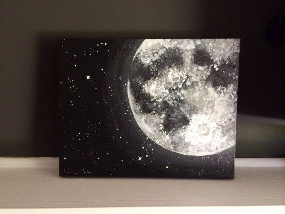 Moon and Stars Acrylic Painting 11x14 inches • Home Accents • Cosmic Home Decor • Great for accent walls • Wall Decor • Ready to Ship