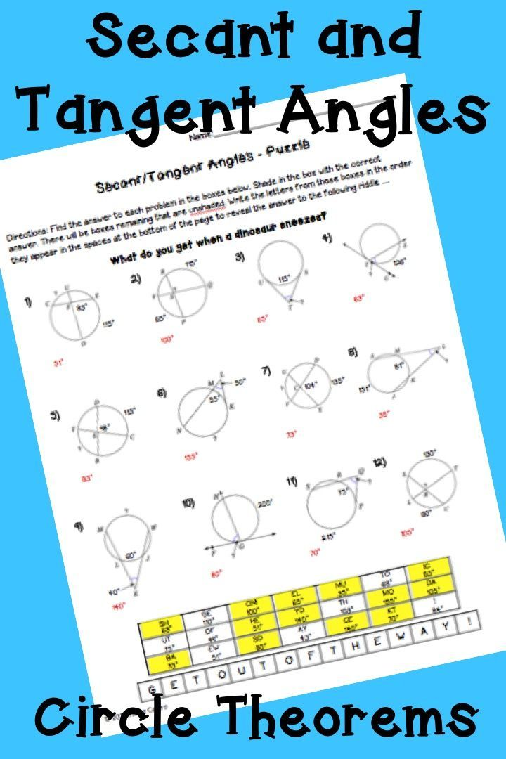 geometry circle theorems secant and tangent angles puzzle worksheet high school math ideas. Black Bedroom Furniture Sets. Home Design Ideas