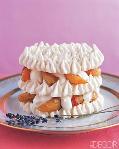 Apricot-Lavender Pavlova    As elegant as it is delicious, this dessert is made of layers of crispy, chewy meringue lightly flavored with aromatic lavender, apricot compote infused with rum, and whipped cream lightened with yogurt.Apricot Lavendar Pavlova, Recipe Desserts, Summertime Desserts, Apricot Lavender Pavlova, Food, Summer Desserts, Pavlova Recipe, Daniel Boulud, Culture