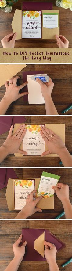 Easy DIY Pocket Invitation | It's easy to create cheap wedding invitations when you DIY. Learn how to make a beautiful pocket invite with DIY supplies, featuring our modern floral free invitation template: http://blog.cardsandpockets.com/2017/01/12/how-to-diy-pocket-invitations-the-easy-way/
