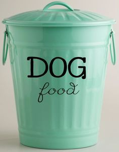 DOG food Vinyl Decal *Measures 10 w x 8 h. If you need a custom size, please convo me. CONTAINER NOT INCLUDED Our decals are made with high