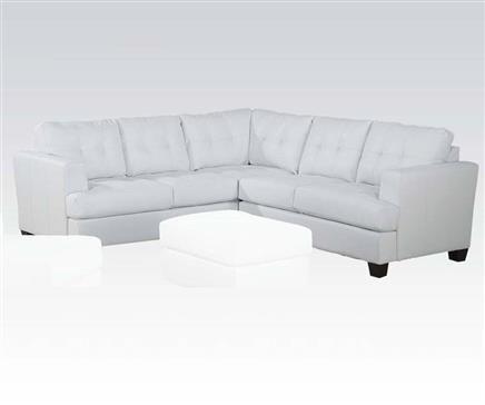 platinum bonded leather white sectional sofa