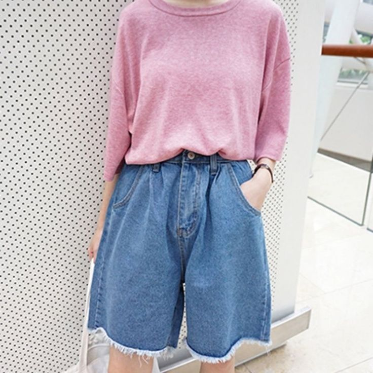 Ladies Denim Shorts Hot Pants Oversize Rough Edge Short Jeans Flared Trousers