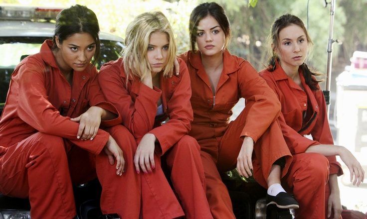 """Through Many Dangers, Toils and Snares"" - Shay Mitchell as Emily Fields, Ashley Benson as Hanna Marin, Lucy Hale as Aria Montgomery and Torian Bellisario as Spencer Hastings in PRETTY LITTLE LIARS on ABC FAMILY."