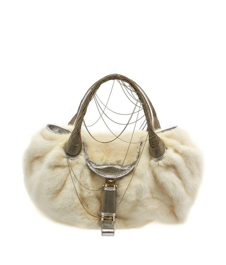 Fendi Spy 8BR511 Limited Edition White Mink Fur Shoulder Bag