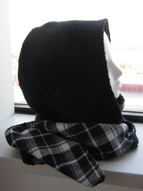 Wool Blend Hooded Scarf With Black Flannel by EarthyEcoStyle, $45.00