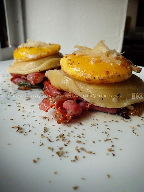 Goat Cheese Ravioli with Fried Capicola Ham, Sunny-Side Up Egg Yolk ...