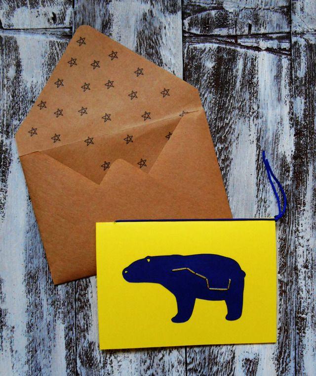 星クマメッセージカード(黄色)