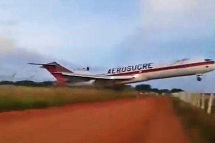 Momento em que o Boeing 727 ultrapassa os limites da pista antes de decolar