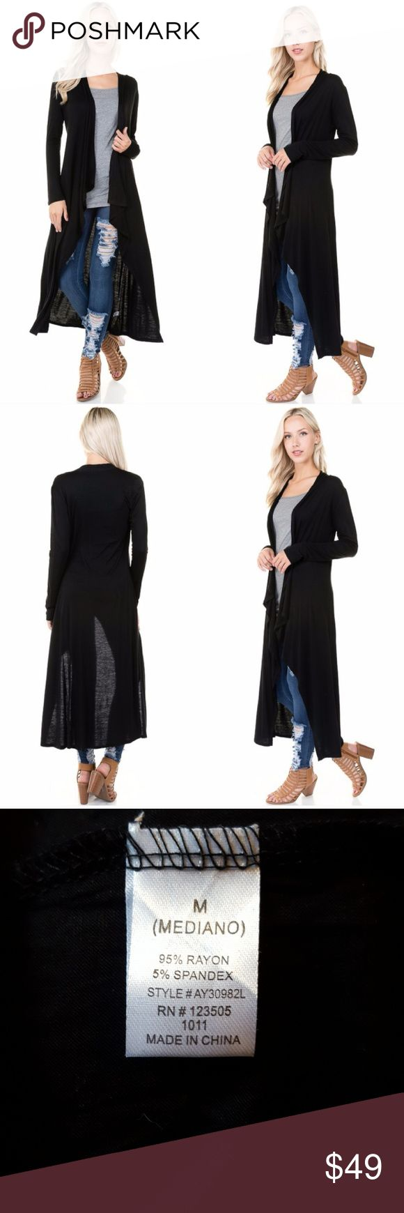 Waterfall Maxi Cardigan Simple black maxi cardigan which can easily be worn causually during the day or dressed up at night. This is the perfect essential for any wardrobe! Aluna Levi Sweaters Cardigans