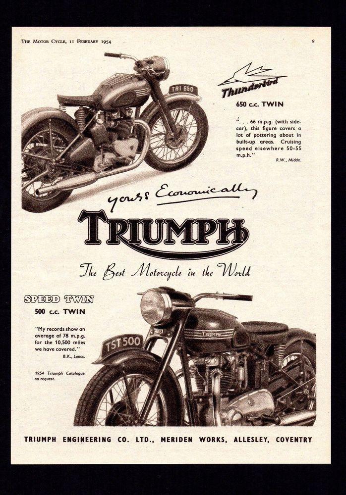 1954 TRIUMPH SPEED TWIN 500 5T,THUNDERBIRD 650 6T MOTORCYCLE.MAGAZINE ADVERT.