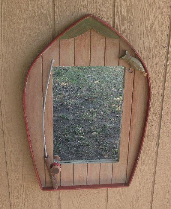 Lake Home Wall Decor : Mirror fish lodge lake house cabin decor wall