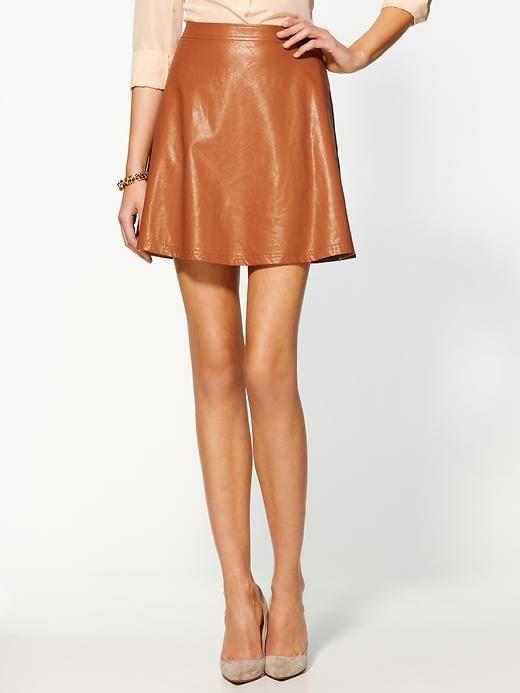 camel vegan leather skirt